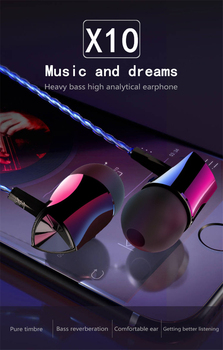 4 Colors X10 Wired Earphone Adjustable Volume Pause/play Earbuds Wire Headset For Xiaomi Huawei Smartphone Tablets MP3 image