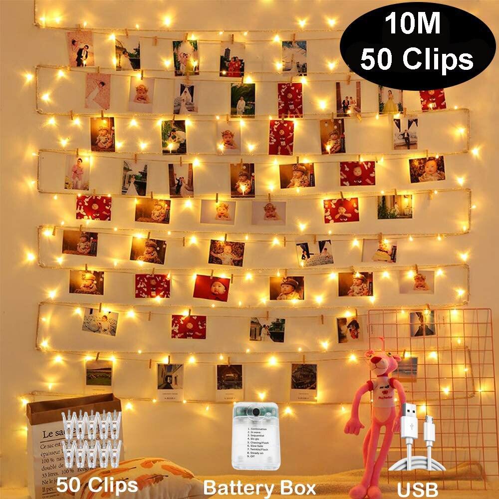 10M ภาพคลิปไฟ LED USB Fairy Garland ตกแต่งคริสต์มาสปาร์ตี้งานแต่งงาน Xmas สำหรับผนังห้องนอนบาร์ตู้