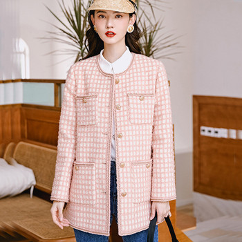 Korean style womens O-neck plaid coat 2019 autumn winter high quality tweed jackets B116