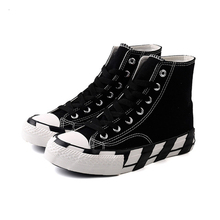 All-Star New womens canvas shoes black and white chessboard vulcanized high to help wild INS Korean version