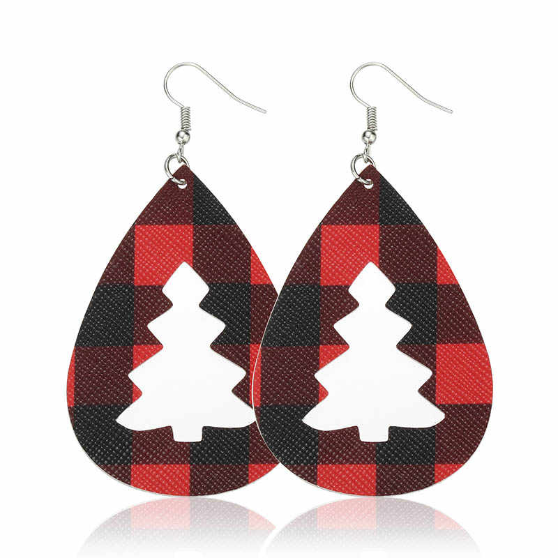 Cpop クリスマスツリーグリッター Pu レザーイヤリング女性の葉ゼブラ格子ヒョウイヤリングファッションジュエリーアクセサリーギフト