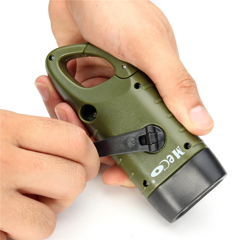 Mini Emergency Hand Crank Generator Solar Flashlight Rechargeable LED Light Lamp Charging Powerful Torch For Safety Survival
