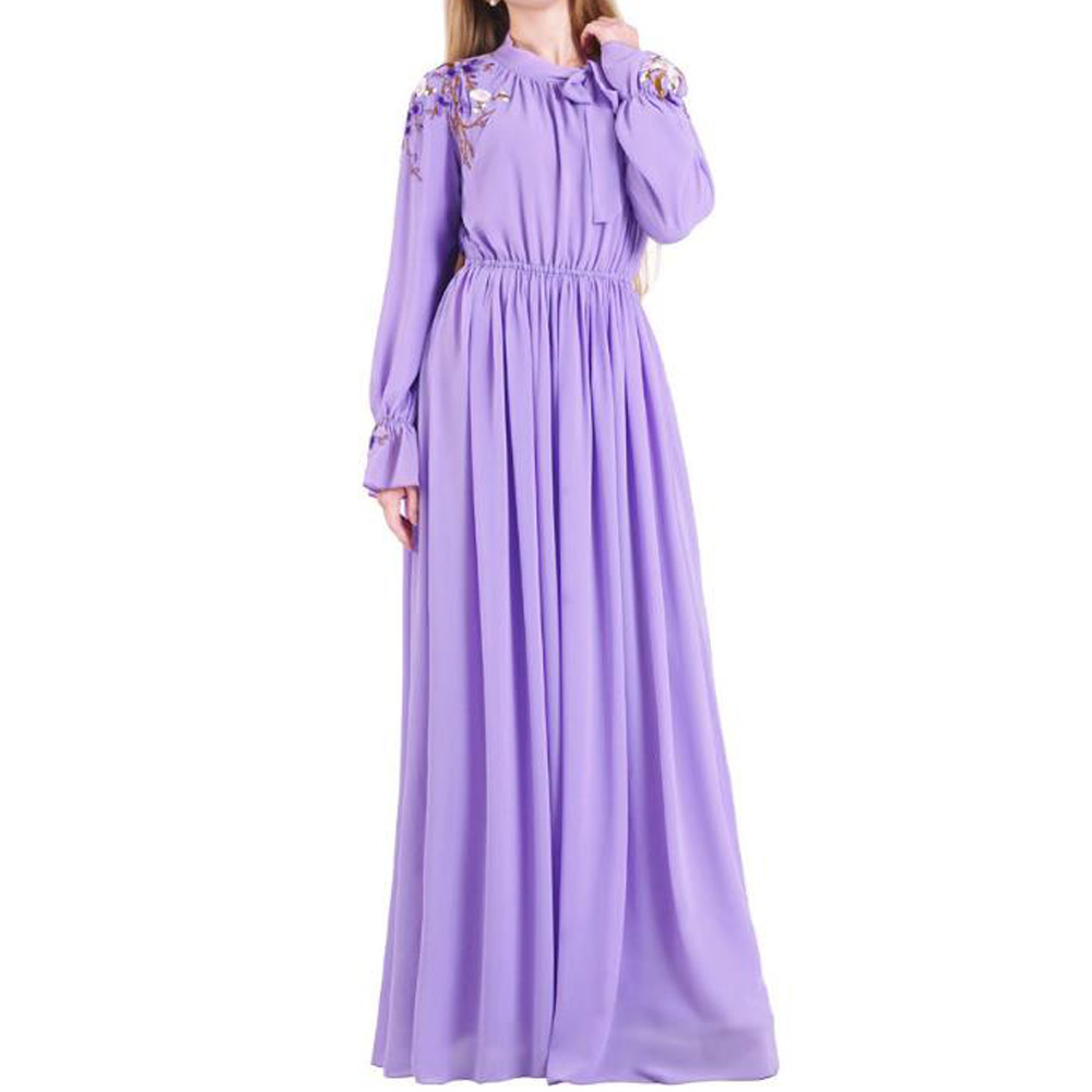 Purple Muslim Dress Women Dubai Abaya Turkish Hijab Dresses Caftan Marocain Kaftan Robe Islam Clothing Abayas Arabische Kleding