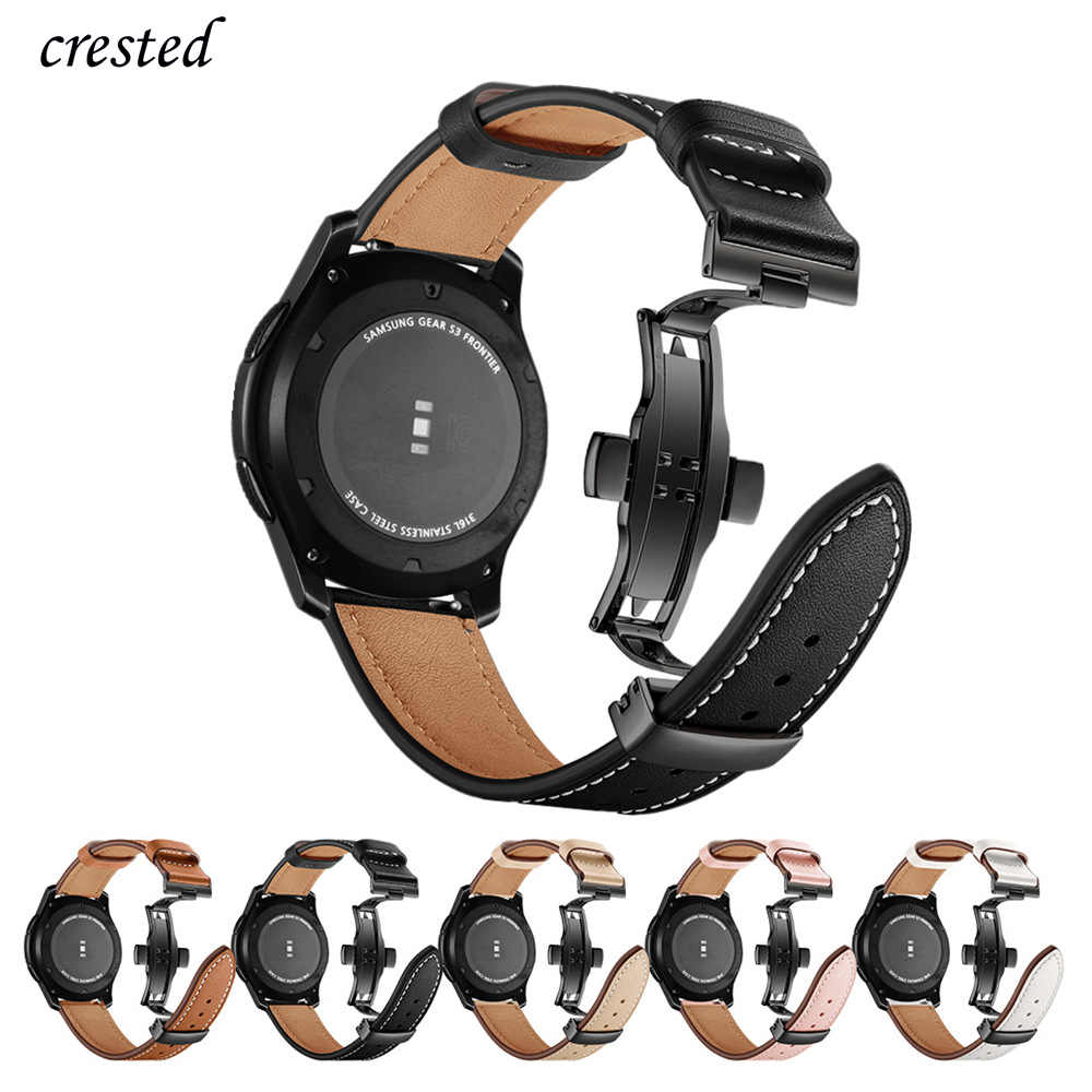 Italia Kulit Band untuk Samsung Galaxy Watch 46 Mm Tali GEAR S3 Watchband 22 Mm Gelang Huawei Watch GT Tali Butterfly Gesper 46