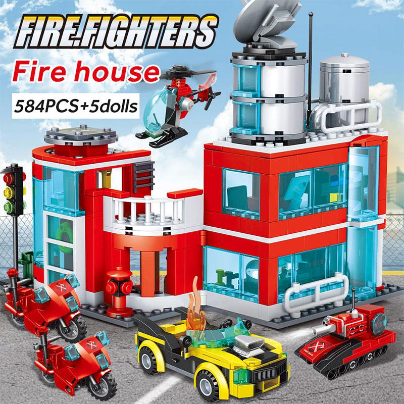 Winner City Fire Station Police Building Blocks
