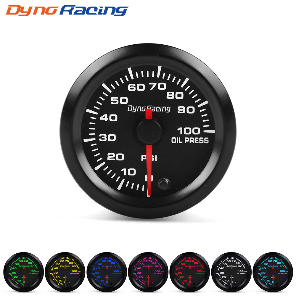 """Dynoracing """" 52 мм 7 видов цветов, высокая скорость, автомобильный наддув, температура воды, температура масла, масло, пресс, воздух, топливо, соотношение вольтметр, EGT, тахометр, Датчик Оборотов - Цвет: Oil press gauge"""