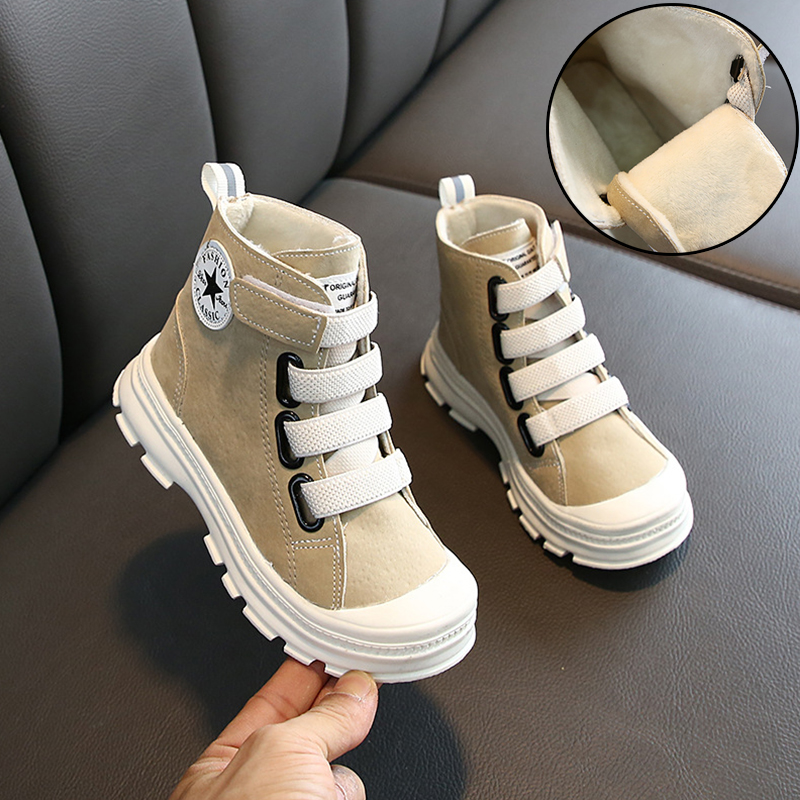 Fashion Boys Martin Boots 2020 Autumn And Winter New Leather Children's Cotton Shoes Plus Velvet Warm Kids Boots Boys Sport Shoe