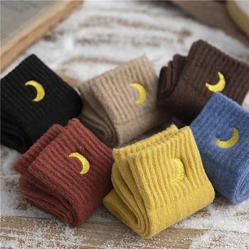 SP&CITY Women Winter Moon Embroidery Cotton Thick Socks Harajuku Casual Solid Warm Cartoon Ins Style Student Streetwear Art Sox - discount item  41% OFF Women's Socks & Hosiery