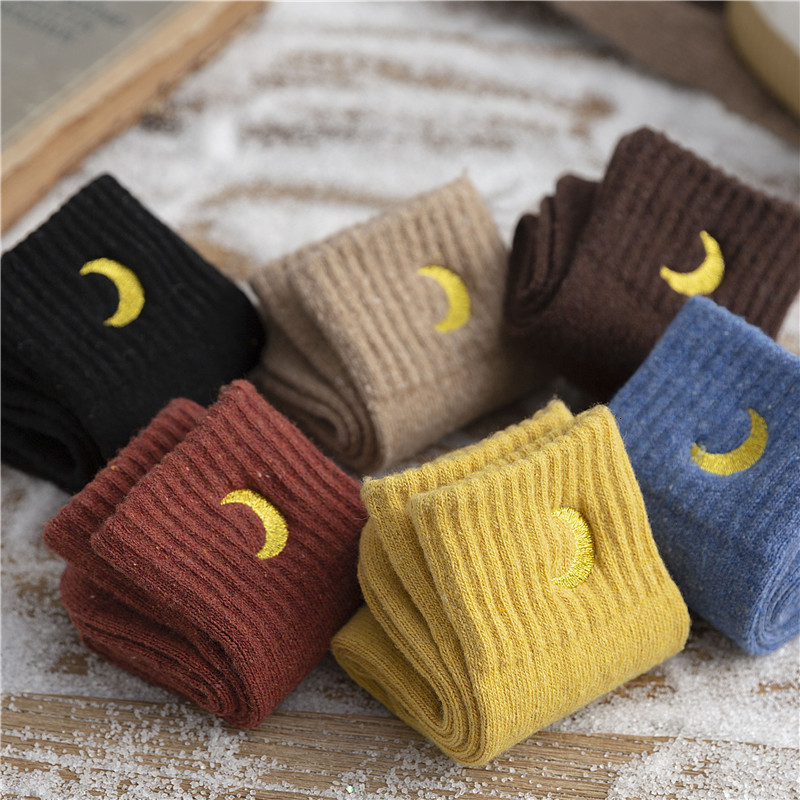 SP&CITY Women Winter Moon Embroidery Cotton Thick Socks Harajuku Casual Solid Warm Cartoon Ins Style Student Streetwear Art Sox