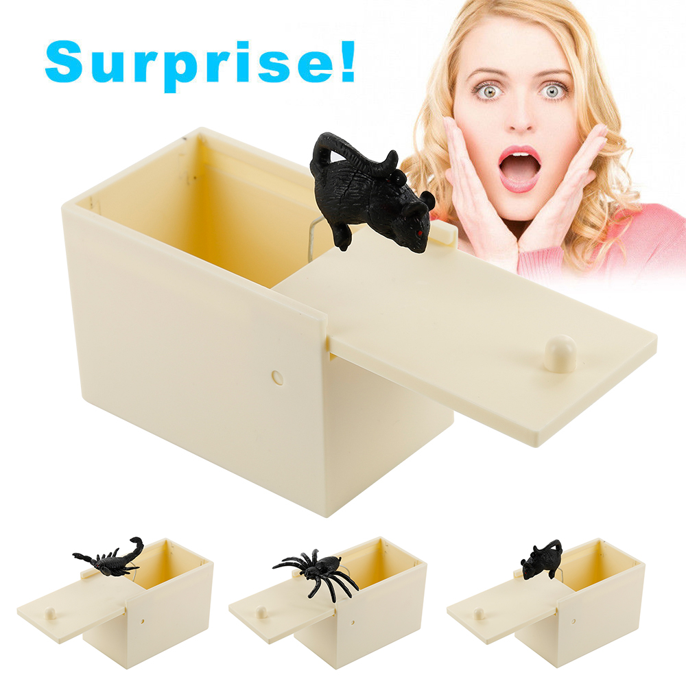 Wooden Spider Scorpion Scare Box Surprise Joke Horror Funny Prank Novelty Toys Halloween