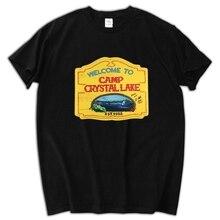 New Camp Crystal Lake Vintage Sign The 13 Friday Jason Horror 13Th Black T-Shirt Men T Shirt Print Cotton Short Sleeve T-shirt