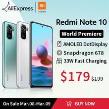 [Lançamento mundial Em estoque] Versão global Xiaomi Redmi Note 10 Smartphone Snapdragon 678 AMOLED Tela 48MP quádrupla Câmera 33W