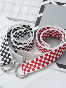 Waistband Checkered Canvas New-Belts Plaid Black Long White Women Fashion Couple