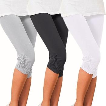 Thin Lace Short Leggings Summer Jeggings Women Pants Cropped Capris Skinny Legging Black White Push Up Trousers Elastic 1