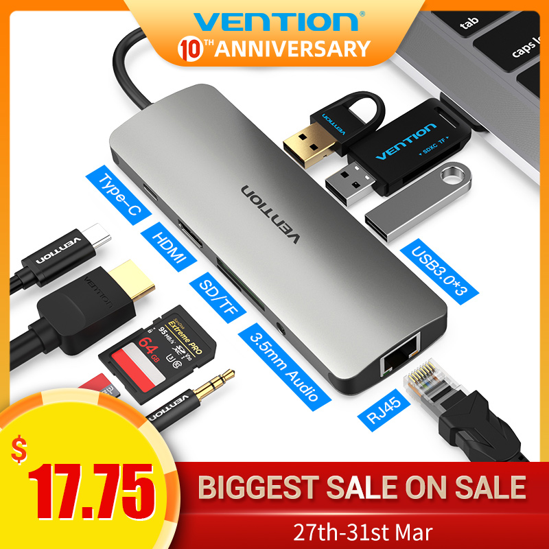 Vention Thunderbolt 3 Dock USB Hub Type C To HDMI USB3.0 RJ45 Adapter For MacBook Samsung Dex S10/S9/S8 Huawei USB-C Converter