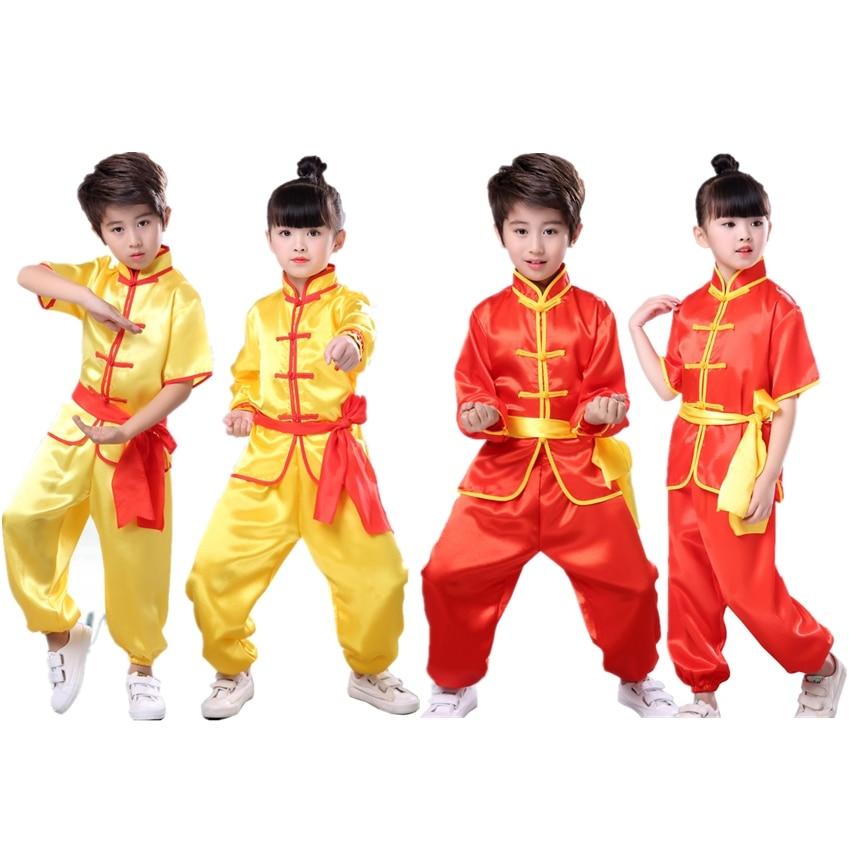 100-180cm Children Wushu Suit Chinese Traditional Short&Full Tai Chi Uniform Kids Silk Kungfu Costumes Performance Tang Suit