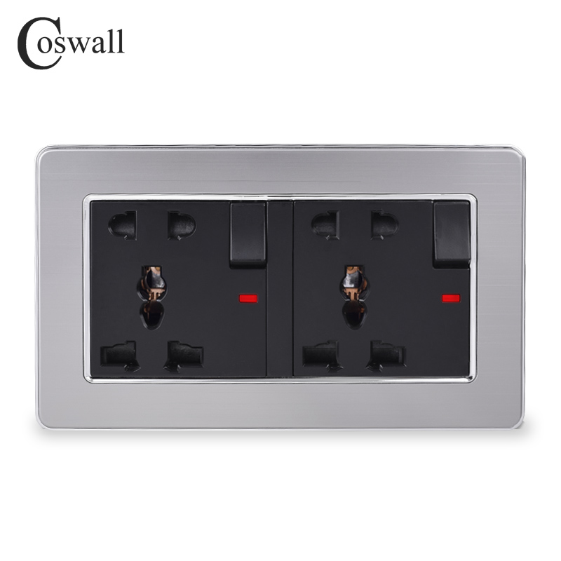 COSWALL Stainless Steel Panel 2 Gang 13A Universal 5 Hole Switched Socket With Neon Grounded With Children Protective Door