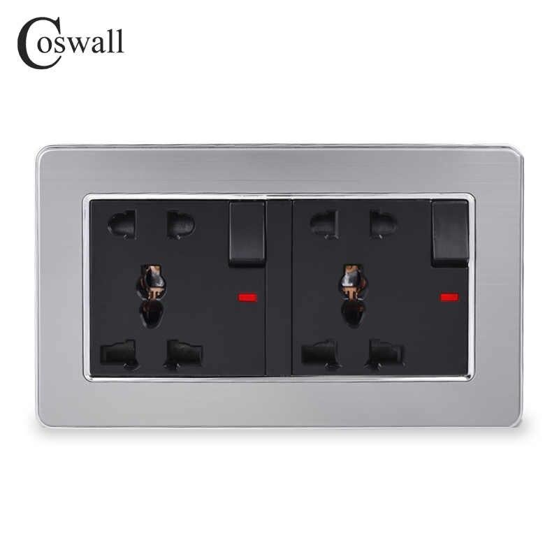 COSWALL paslanmaz çelik Panel 2 Gang 13A evrensel 5 delik anahtarlı priz Neon ile topraklı çocuk koruyucu kapı
