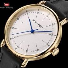 ミニフォーカス古典ドレスクォーツメンズウォッチトップブランドの高級黒本物のレザーストラップ腕時計メンズファッションカジュアル腕時計