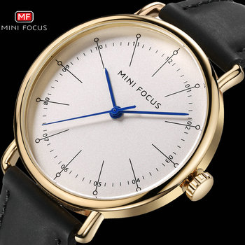 MINI FOCUS Classic Dress Quartz Mens Watches Top Brand Luxury Black Genuine Leather Strap Watch Men Fashion Casual Wristwatches