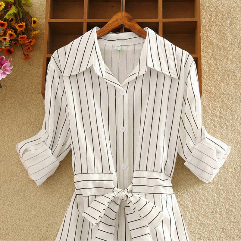 Foxmertor модное женское платье, вечерняя рубашка с длинным рукавом, новинка 2019, свободные большие размеры, синие белые платья в полоску с отворотом, тонкие S-2XLBelt