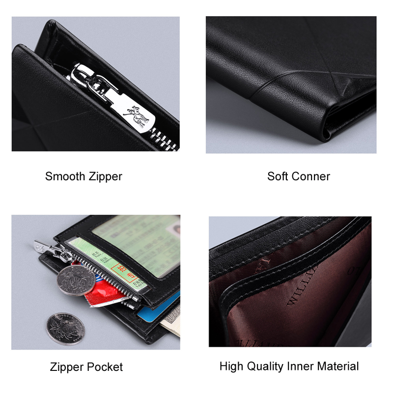 WILLIAM POLO 2019 Men/'s Slim Wallet Genuine Leather Mini Purse