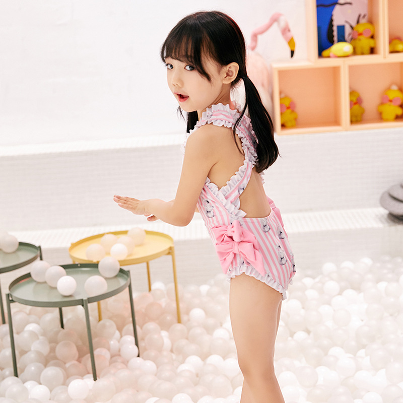 Cute Little Bear GIRL'S One-piece Swimming Suit Hipster CHILDREN'S Swimwear Swimming Cap Korean-style Hot Springs Swimwear