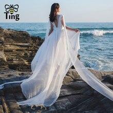Tingfly – Robe de soirée en mousseline de soie, Design Original, longueur au sol, style Boho, Blanche, pour mariage, en Vogue, été