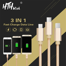 все цены на Reversible 3 in 1 USB Cable 8 Pin Micro USB Type C 1m charger cable for iPhone Samsung Xiaomi Huawei adapter fast charging cable онлайн