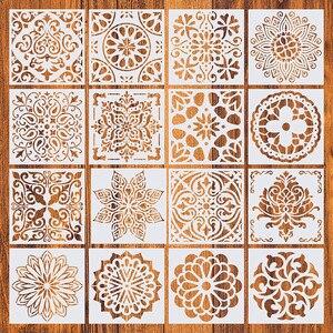 16 шт./упак. 15*15 см DIY картина для дома, винтажный узор, трафареты, шаблон для плитки, напольной мебели, декоративная картина из ткани
