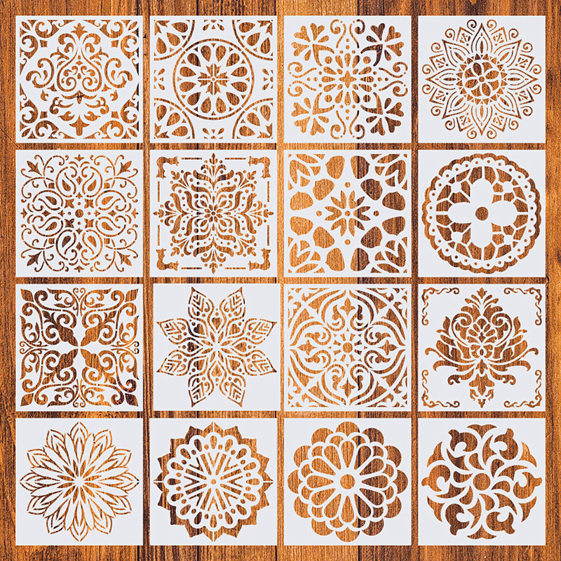 16Pcs/Pack 15*15cm DIY Home Painting Vintage Pattern Stencils Template For Tile Floor Furniture Fabric Painting Decorative