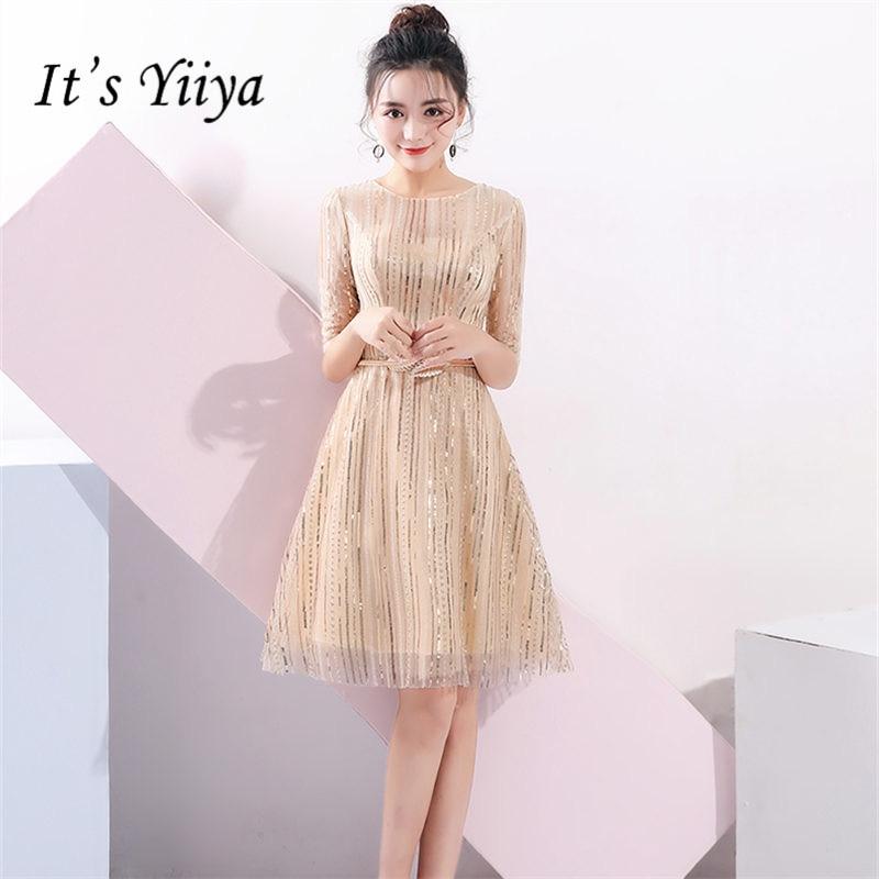 It's Yiiya Prom Dress 2019 Elegant O-Neck Short Sleeve Women Party Night Dresses Sequins A-Line Above Knee Vestidos De Gala E857
