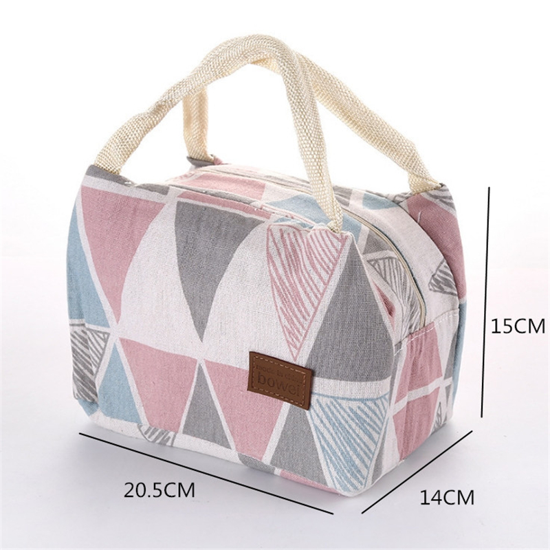 Lunch Bag For Women Kids Portable Thermal Insulated Canvas Tin Foil Bags Bento Pouches Box Tote Cooler School Food Storage Bag