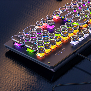 REDSTORM Mechanical Keyboard Metal Panel Round Retro Keycap 104 Keys Backlit Wired Gaming Keyboard For PC Laptop