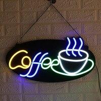 60*30cm LED Neon Sign Light Tube Coffee Bar Club KTV Wall Decoration Commercial Lighting Neon Bulbs Cafeteria Artwork Lamp