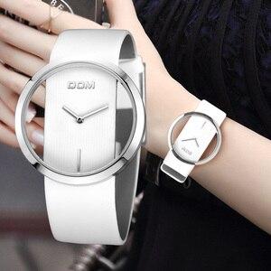 Image 1 - שעון נשים DOM מותג יוקרה אופנה מזדמן קוורץ ייחודי אופנתי חלול שלד שעונים עור ספורט ליידי שעוני יד 205L