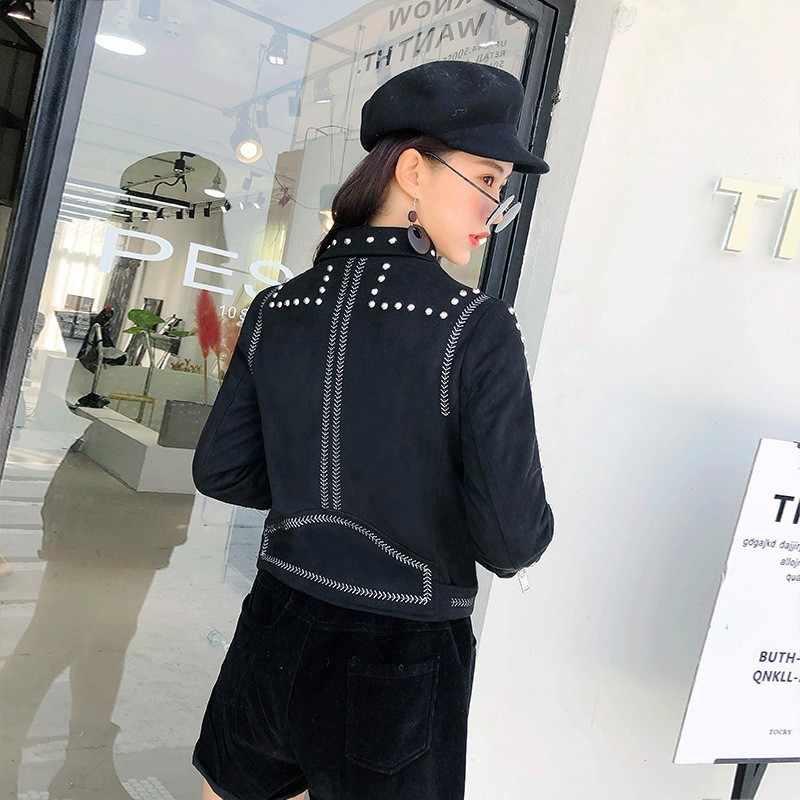 Moda kore bayan Faux deri perçin süet ceketler uzun kollu yaka Moto BikerAutumn kış Slim Fit kısa palto Streetwear