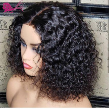 EAYON Short Curly Lace Front Human Hair Wigs 13x6 Lace Frontal Peruvian Remy Hair Bob Wig With Baby Hair For Women Pre plucked(China)