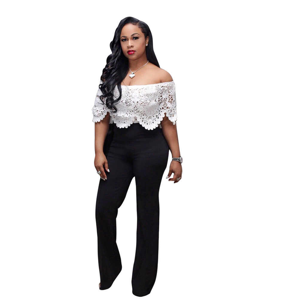 Adogirl Lace Crochet Hollow Out Off Shoulder Jumpsuit Sexy Slash Neck Ruffle White Top Black Wide Leg Pants Women Romper Overall