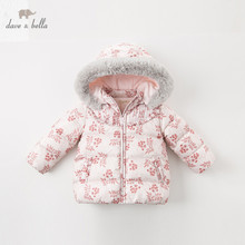 Kids Jacket Dave Bella Outwear Padded Down-Coat Hooded-Fur Baby Girls 90%White-Duck-Down
