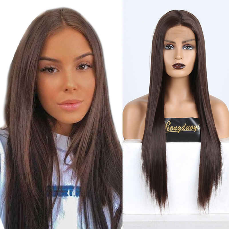 RONGDUOYI Brown Hair Straight Synthetic Lace Front Wig Long Heat Resistant Fiber Hair Lace Wigs For Women Cosplay Straight Wig