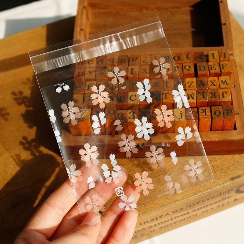 100pcs Sakura Transparent Opp Plastic Bags For Candy Cookie Packaging Cellophane Bag 10x10cm Stationery Plastic Envelope