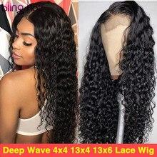 Derin dalga 13x4 dantel ön İnsan saçı peruk s 4x4 dantel kapatma peruk brezilyalı İnsan saçı peruk ön koparıp peruk kadınlar için 28 30 inç