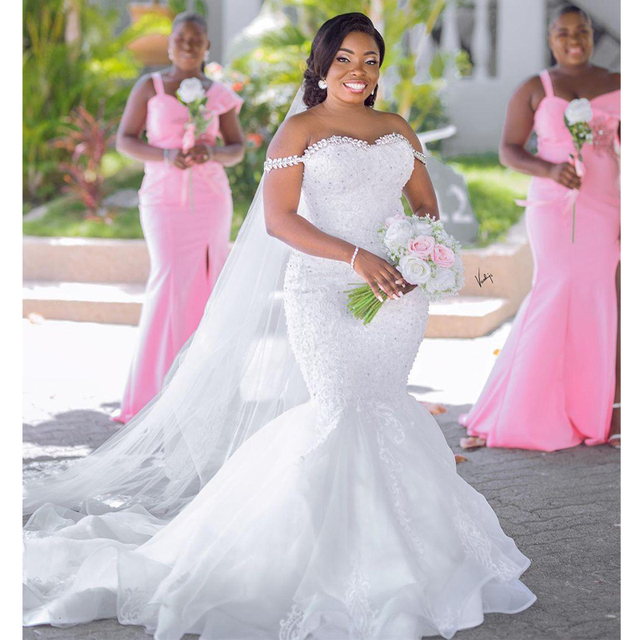 Plus Size Crystal Off the Shoulder Mermaid Bridal Dresses Vintage Tulle Lace Appliques Country Africa Wedding Gowns 1