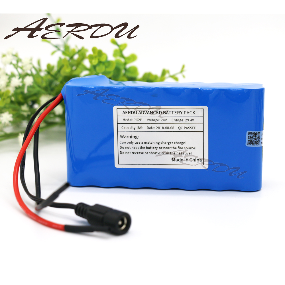 AERDU 7S2P 24V 5Ah 25.9V <font><b>29.4V</b></font> Lithium-<font><b>ion</b></font> <font><b>battery</b></font> pack For Electric Unicycles Scooters toys Bicycle ebike light motor with BMS image