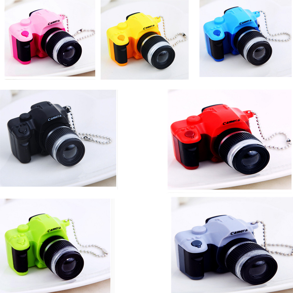 LED Luminous Sound Glowing Pendant Keychain Bag Accessories Plastic Toy Camera Car Key Chains Kids Digital Flash Camera Toy