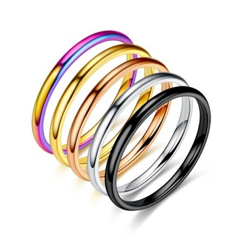 Women Jewelry Titanium Steel Ring Mirror Polishting minuteness couple Rings sd001 image