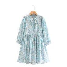 Женское винтажное платье с длинным рукавом голубое Свободное