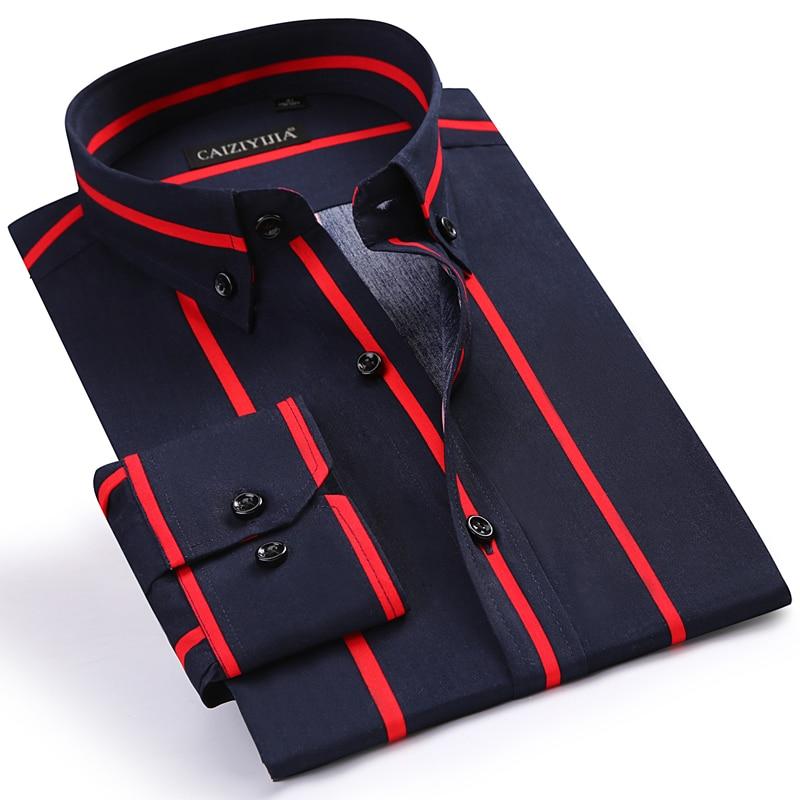 Cotton Shirts Color-Block Long-Sleeve Button-Down-Collar Comfortable Striped Men's Casual
