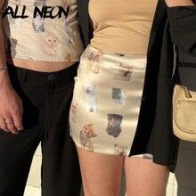 ALLNeon Kawaii Vintage High Waist Cat Graphic Print Mini Skirts Y2K Streetwear Satin Short A-line Skirt Summer Cute Bottoms 2021